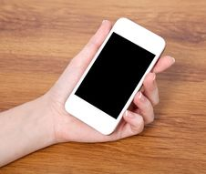 Free Woman Hand Holding A Touch White Phone With With Black Screen Stock Photography - 34597302