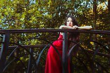 Free Girl Standing On The Bridge Royalty Free Stock Photos - 34599458