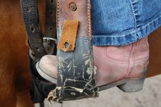 Free Westernboot In Stirrup Royalty Free Stock Photo - 3460765