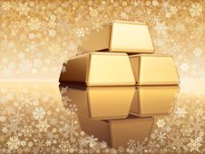 Free Christmas Golden Bullions Stock Photography - 3464042