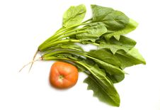 Chinese Spinach And Tomato Stock Photography