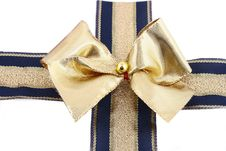 Free Gift Golden Ribbon And Bow Stock Photos - 3465193