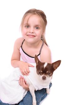 Free Girl And Chihuahua Stock Photography - 3466002