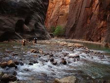 Hikers In Zion Narrows Stock Photography