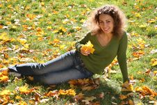 Free Woman With The Yellow Leaf Royalty Free Stock Photography - 3467147