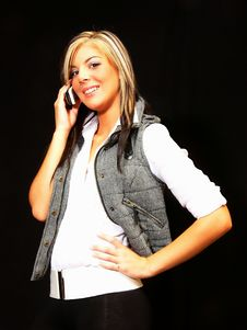 Free Blond Lady On The Phone. Stock Photography - 3467552