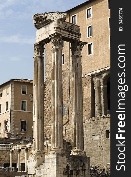Old temple column in rome