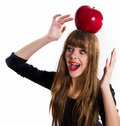 Free Pretty, Young Girl And Red Apple. Isolated On White. Royalty Free Stock Photos - 34600648
