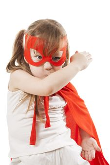 Free Superhero Girl In A Red Stock Images - 34600144