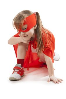 Free Superhero Girl In A Red Stock Image - 34600151
