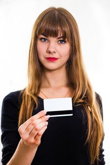 Free The Young Girl Holds Out Business Card. Stock Photos - 34600623