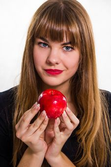Free Pretty, Young Girl And Red Apple. Stock Photo - 34600640