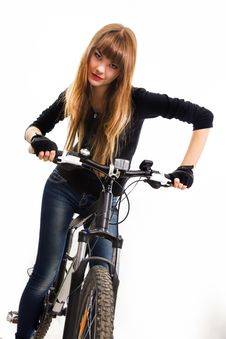 Free Young Girl With Bike. Stock Images - 34600644