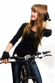 Free Young Girl With Bike. Royalty Free Stock Photography - 34600647