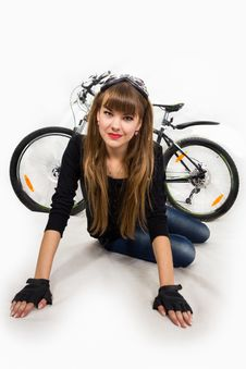 Free Young Girl With Bike. Stock Image - 34600651