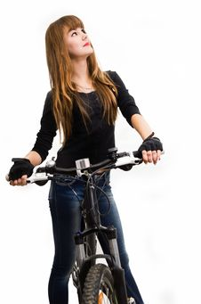 Free Young Girl With Bike. Stock Photo - 34600660
