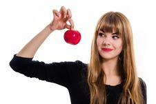 Free Pretty, Young Girl And Red Apple. Royalty Free Stock Photo - 34600665