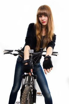 Free Young Girl With Bike. Royalty Free Stock Photography - 34600667