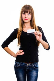 Free Young Girl Holds Out Business Card. Stock Photography - 34600672