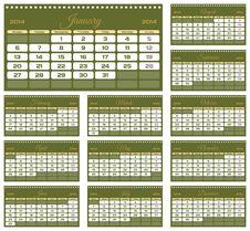 Free Calendar 2014 Royalty Free Stock Image - 34601976