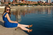 Free Girl On The Background Of River Stock Photography - 34602272