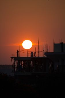 Sunset At The Construction Site Royalty Free Stock Image