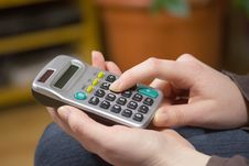 Woman S Hands With A Calculator Stock Images