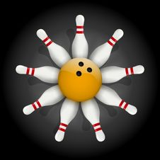 Free Bowling Pins And Ball With A Flower Stock Photography - 34608182