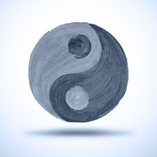 Free Taichi Yin And Yang. Watercolor Background. Grunge Stock Photography - 34615292