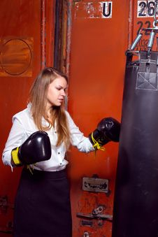 Free Businesswoman With Boxing Gloves Royalty Free Stock Photo - 34617275