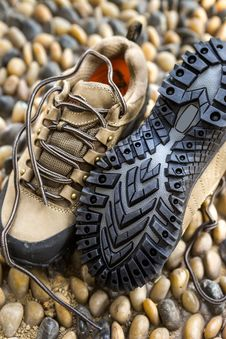 Green Army Outdoor Hiking Shoes Royalty Free Stock Images