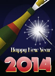 Free 2014 New Year Retro Poster Stock Image - 34629741