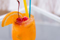 Free Orange Juice Wine Glass Stock Photography - 34632002