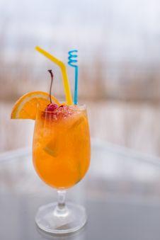 Free Orange Juice Wine Glass Stock Image - 34631981