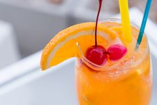 Free Orange Juice Wine Glass Royalty Free Stock Photography - 34632017