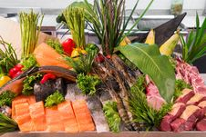 Free Fresh Meat Fish Vegetables Royalty Free Stock Photo - 34632395