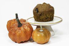 Free Pumpkin Muffin On Pedestal With Pumpkins Stock Photos - 34635793