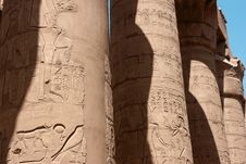 Free Egyptian Hieroglyphs On The Columns Of Karnak Temple Royalty Free Stock Photography - 34638187