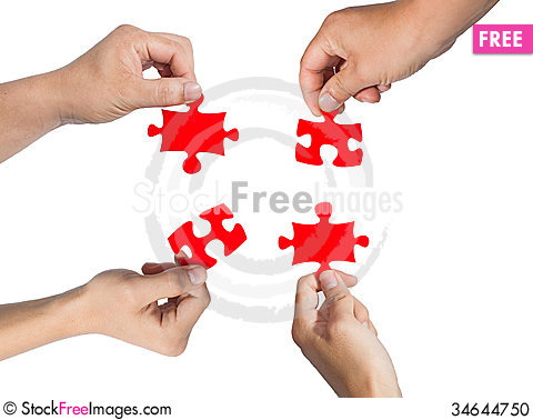 Free Hands And Puzzle Stock Photo - 34644750
