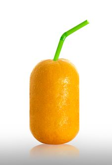 Free Orange With Straw Stock Photo - 34649880