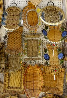 Wicker Woven Baskets Hand Hanging Royalty Free Stock Image