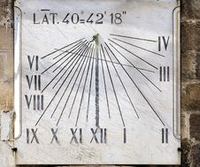 Ancient Sundial On The Wall A Bell Tower Royalty Free Stock Images