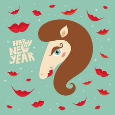 Greeting Card Happy New Year With Horse Royalty Free Stock Photography