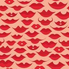Seamless Lips Pattern Stock Images