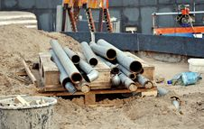 Free Pipes At A Construction Site Royalty Free Stock Photo - 34656235