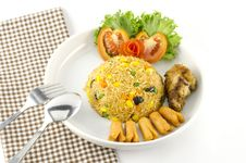 Free American Fried Rice Isolated On White Stock Image - 34661501