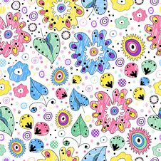Free Bright Seamless Floral Pattern Painted Markers Stock Photography - 34663422
