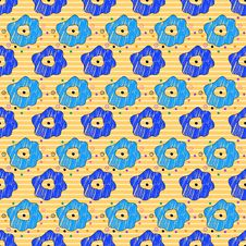 Free Seamless Pattern With A Lot Of Flowers On A Stripe Royalty Free Stock Photography - 34663427