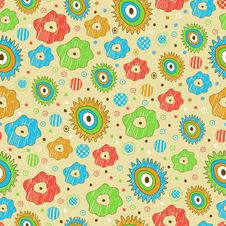 Free Bright Seamless Floral Pattern Royalty Free Stock Photos - 34663428