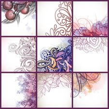 Free Set Of Floral Backgrounds. Royalty Free Stock Photography - 34664507